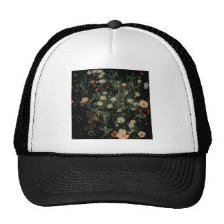 bohemian whimsical orange wildflower black floral trucker hat