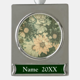 bohemian whimsical summer daisy wildflower silver plated banner ornament
