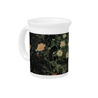 bohemian white daisy wildflower black floral beverage pitcher
