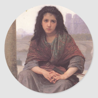 Bohemienne (The Bohemian) by William Bouguereau Classic Round Sticker