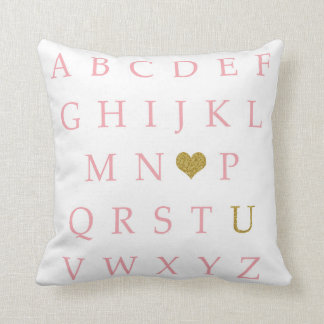 BOHO ABC Sampler Pink Gold Baby Nursery Pillow