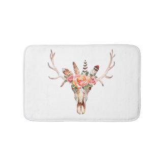 BoHo Animal Skull Watercolor Roses Bath  Mat