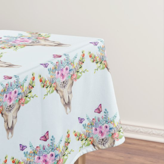 Boho Animal Skull with Butterflies and Flowers Tablecloth