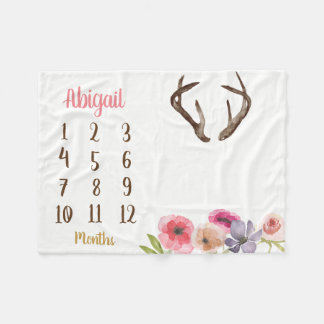 Boho Antler Baby Milestone Monthly Baby Blanket