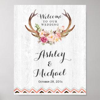 Boho Antler Floral Rustic White Wood Wedding Sign