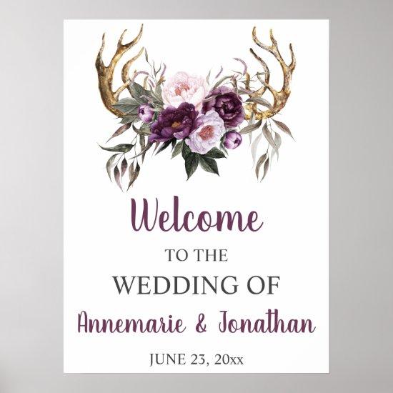 Boho Antlers Purple Plum Pink Peonies Welcome Poster