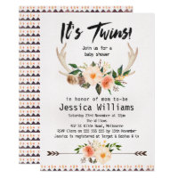 Twins baby shower invitations announcements zazzle boho antlers twins baby shower invitation filmwisefo