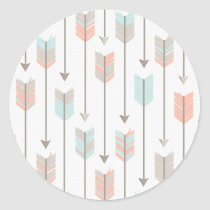 Boho Arrows Pattern Classic Round Sticker