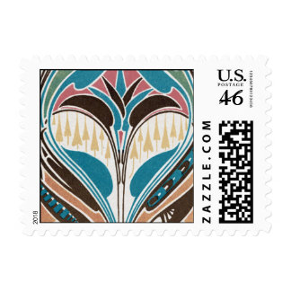 boho art nouveau chic abstract design postage stamps