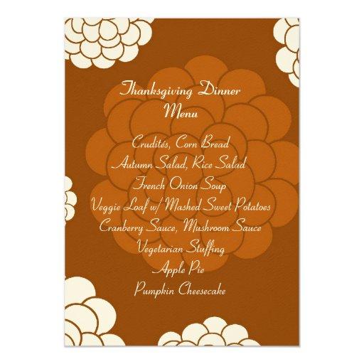 Boho Autumn Flowers Thanksgiving Dinner Menu 5x7 Paper Invitation Card