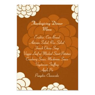 Boho Autumn Flowers Thanksgiving Dinner Menu Card
