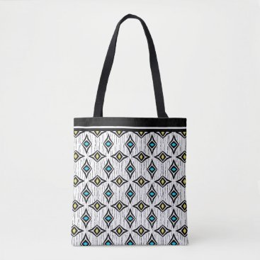 Beach Themed Boho aztec blue and yellow diamond pattern tote bag