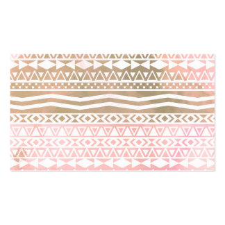 Boho Aztec Brown Pink Watercolor Geometric Pattern Double-Sided Standard Business Cards (Pack Of 100)