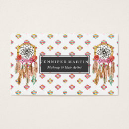 Native americans business cards templates zazzle boho aztec watercolor native american dreamcatcher business card colourmoves Choice Image
