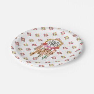 Boho Aztec Watercolor Native American Dreamcatcher Paper Plate