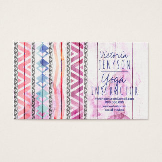 Boho aztec wood watercolor yoga instructor business card