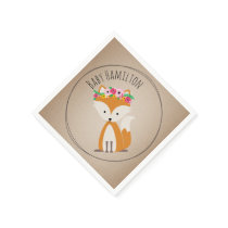 Boho Baby Fox Baby Shower Napkins