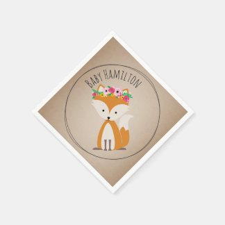 Boho Baby Fox Baby Shower Napkins