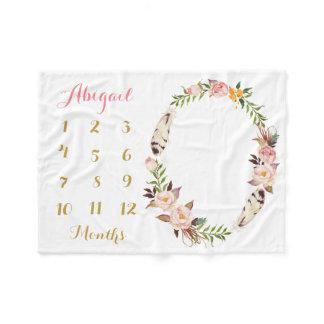 Boho Baby Girl Milestone Monthly Baby Blanket