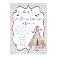 Boho Baby Girl Shower invitation, Tribal Invite