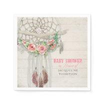 BOHO Baby Shower Feathers Dream Catcher Macrame Napkin