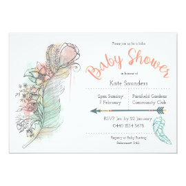 Boho baby shower floral feather hand drawn invites