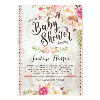 bohemian baby shower invitations announcements zazzle