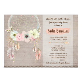 Boho Baby Shower Invitation, Dreamcatcher Rustic Card