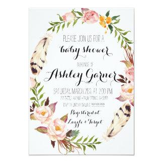 Boho Baby Shower Invitation, Feather, Flower Card