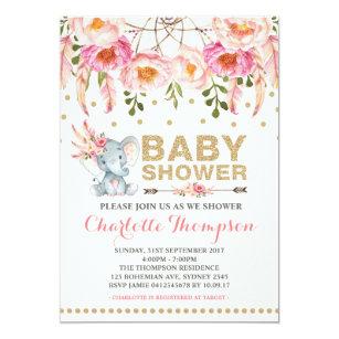 Bohemian baby shower invitations zazzle boho baby shower invitation pink gold elephant filmwisefo