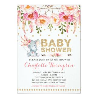 Boho Baby Shower Invitation Pink Gold Elephant