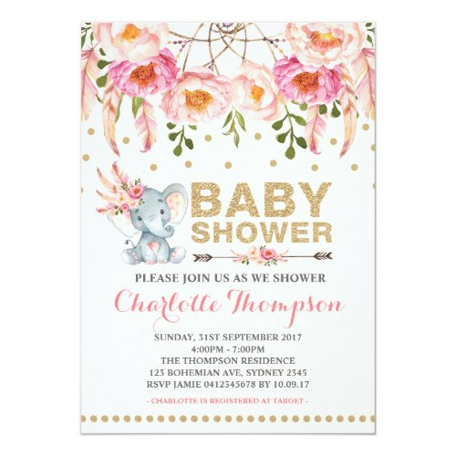 Boho Baby Shower Invitation Pink Gold Elephant