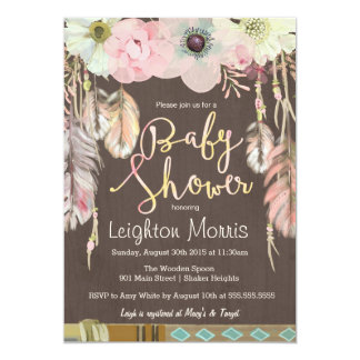 Boho Baby Shower Invitation, Tribal Feather Rustic Card