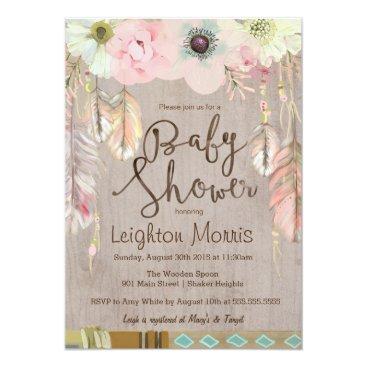 PrettyInviting Boho Baby Shower Invitation, Tribal Feather Rustic Card