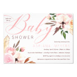Boho Baby Shower, Watercolor Floral Invitation