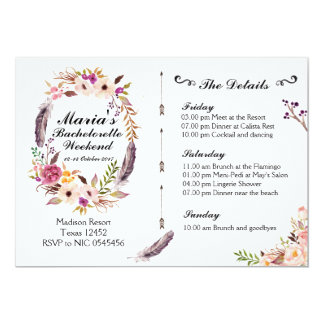 Boho Bachelorette Weekend Itinerary Invitation