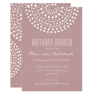 Boho Bali Birthday Brunch on Rose Card