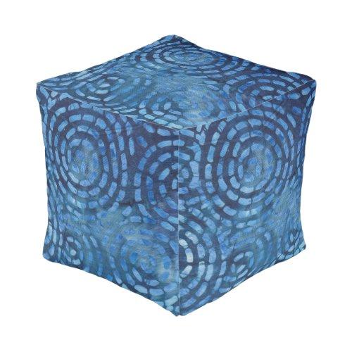 Boho Batik Blue Abstract Spirals Pattern Pouf