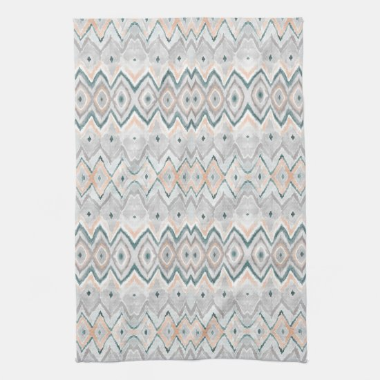 Boho Beach Diamond Chevron Teal Peach Pale Gray Kitchen Towel