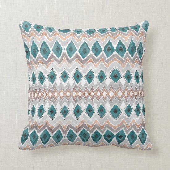 Boho Beach Teal Peach Gray Chevron Diamond Pattern Throw Pillow