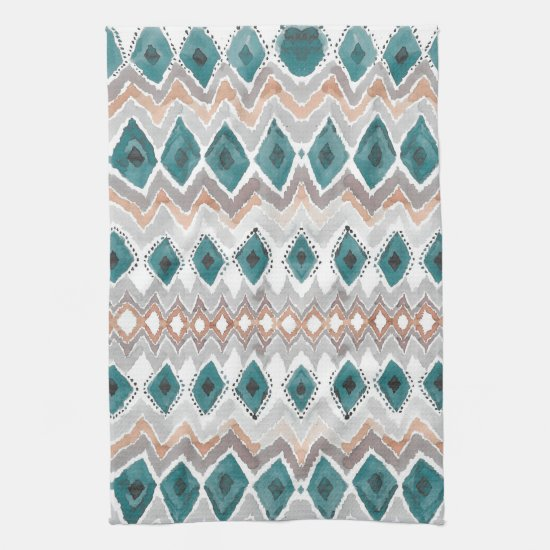 Boho Beach Teal Peach Pale Gray Watercolor Wash Kitchen Towel