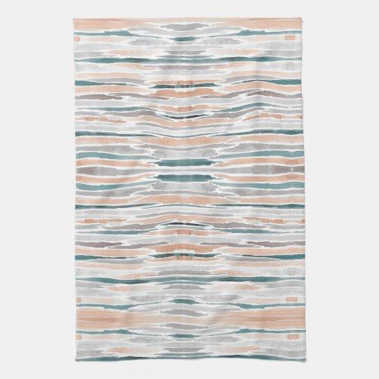 Boho Beach Watercolor Stripes Teal Peach Pale Gray Kitchen Towel