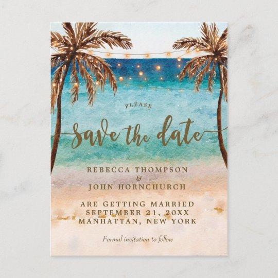 boho beach wedding save the date postcard