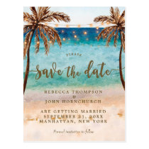 boho beach wedding save the date postcard