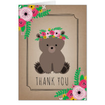Boho Bear Baby Shower Thank You Brown