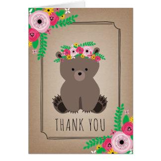Boho Bear Baby Shower Thank You Brown Card