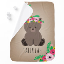 Boho Bear Personalized Baby Blanket - Brown