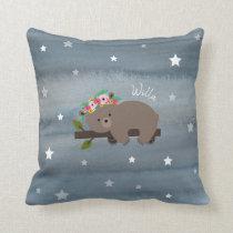 Boho Bear Watercolor Stars Throw Pillow