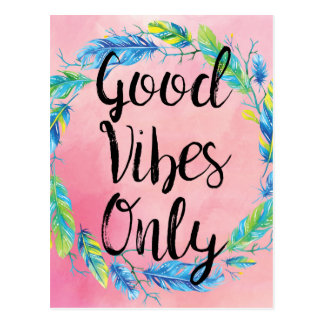 Boho Beautiful Good Vibes Only Postcard