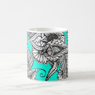 Boho black white hand drawn floral doodles pattern coffee mug